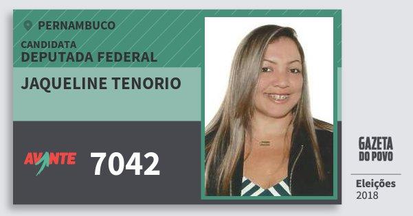Santinho Jaqueline Tenorio 7042 (AVANTE) Deputada Federal | Pernambuco | Eleições 2018