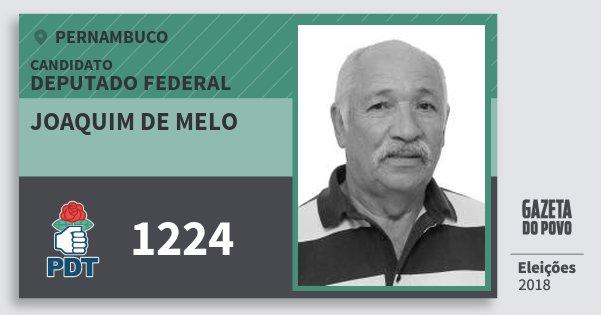 Santinho Joaquim de Melo 1224 (PDT) Deputado Federal | Pernambuco | Eleições 2018
