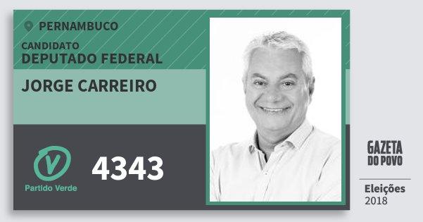 Santinho Jorge Carreiro 4343 (PV) Deputado Federal | Pernambuco | Eleições 2018