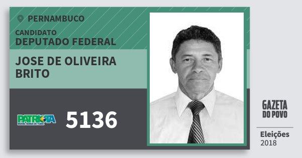 Santinho Jose de Oliveira Brito 5136 (PATRI) Deputado Federal | Pernambuco | Eleições 2018