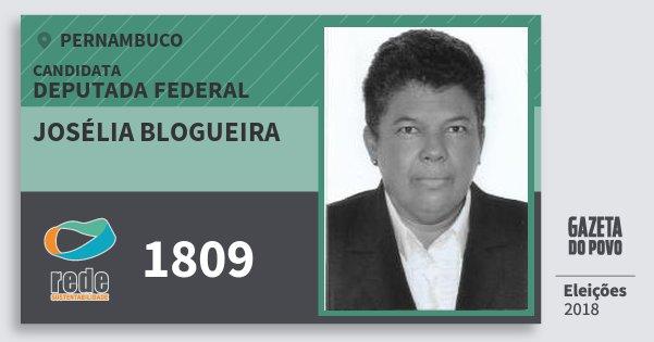 Santinho Josélia Blogueira 1809 (REDE) Deputada Federal | Pernambuco | Eleições 2018