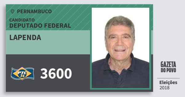 Santinho Lapenda 3600 (PTC) Deputado Federal | Pernambuco | Eleições 2018
