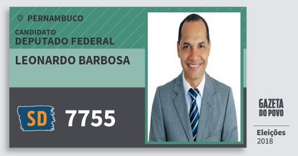 Santinho Leonardo Barbosa 7755 (SOLIDARIEDADE) Deputado Federal   Pernambuco   Eleições 2018