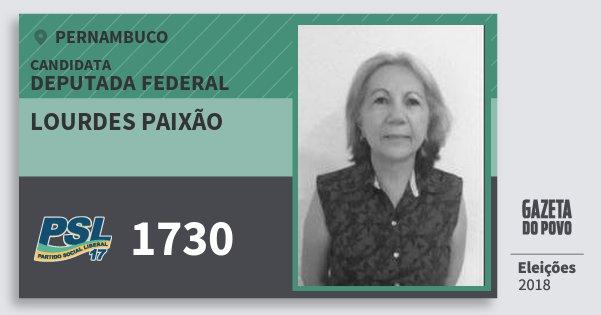 Santinho Lourdes Paixão 1730 (PSL) Deputada Federal | Pernambuco | Eleições 2018