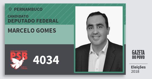 Santinho Marcelo Gomes 4034 (PSB) Deputado Federal | Pernambuco | Eleições 2018