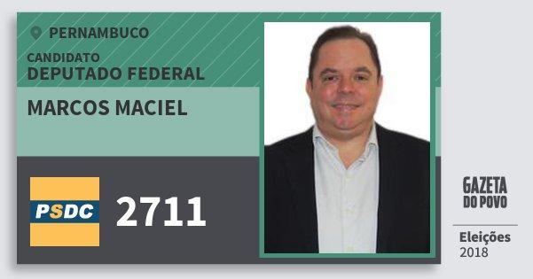 Santinho Marcos Maciel 2711 (DC) Deputado Federal   Pernambuco   Eleições 2018