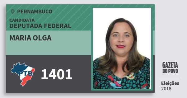 Santinho Maria Olga 1401 (PTB) Deputada Federal | Pernambuco | Eleições 2018