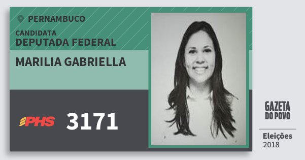 Santinho Marilia Gabriella 3171 (PHS) Deputada Federal | Pernambuco | Eleições 2018