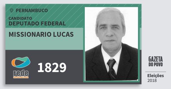 Santinho Missionario Lucas 1829 (REDE) Deputado Federal | Pernambuco | Eleições 2018