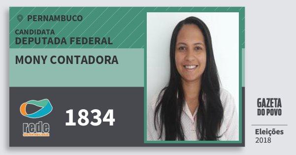 Santinho Mony Contadora 1834 (REDE) Deputada Federal | Pernambuco | Eleições 2018