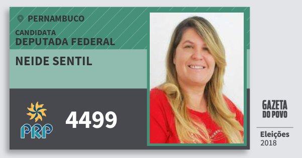 Santinho Neide Sentil 4499 (PRP) Deputada Federal | Pernambuco | Eleições 2018