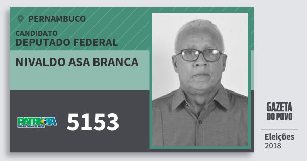 Santinho Nivaldo Asa Branca 5153 (PATRI) Deputado Federal | Pernambuco | Eleições 2018