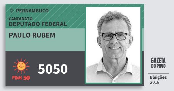 Santinho Paulo Rubem 5050 (PSOL) Deputado Federal | Pernambuco | Eleições 2018