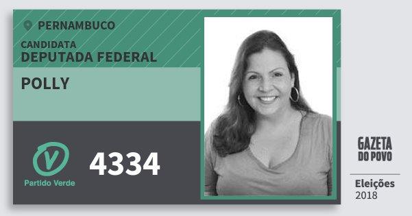 Santinho Polly 4334 (PV) Deputada Federal | Pernambuco | Eleições 2018