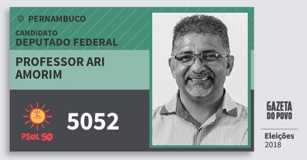 Santinho Professor Ari Amorim 5052 (PSOL) Deputado Federal | Pernambuco | Eleições 2018