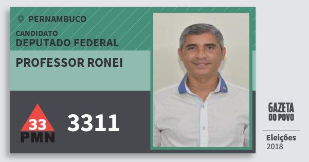 Santinho Professor Ronei 3311 (PMN) Deputado Federal | Pernambuco | Eleições 2018