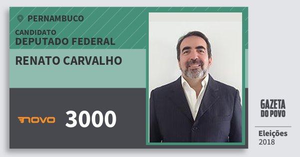 Santinho Renato Carvalho 3000 (NOVO) Deputado Federal   Pernambuco   Eleições 2018