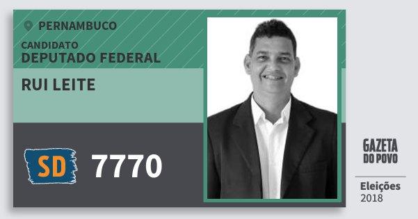 Santinho Rui Leite 7770 (SOLIDARIEDADE) Deputado Federal   Pernambuco   Eleições 2018