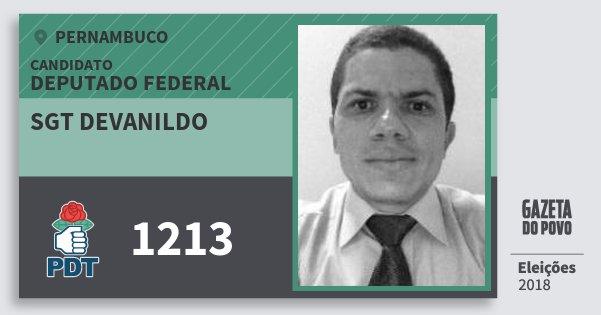 Santinho Sgt Devanildo 1213 (PDT) Deputado Federal | Pernambuco | Eleições 2018
