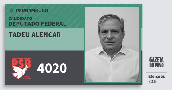 Santinho Tadeu Alencar 4020 (PSB) Deputado Federal | Pernambuco | Eleições 2018