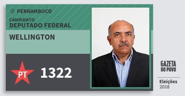 Santinho Wellington 1322 (PT) Deputado Federal | Pernambuco | Eleições 2018