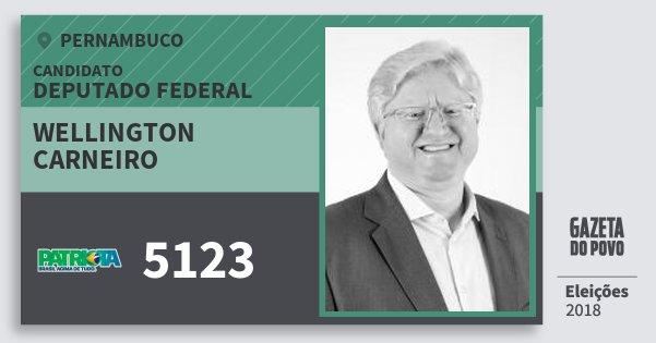 Santinho Wellington Carneiro 5123 (PATRI) Deputado Federal | Pernambuco | Eleições 2018