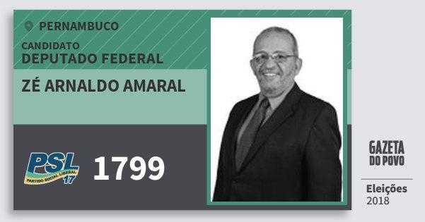 Santinho Zé Arnaldo Amaral 1799 (PSL) Deputado Federal | Pernambuco | Eleições 2018