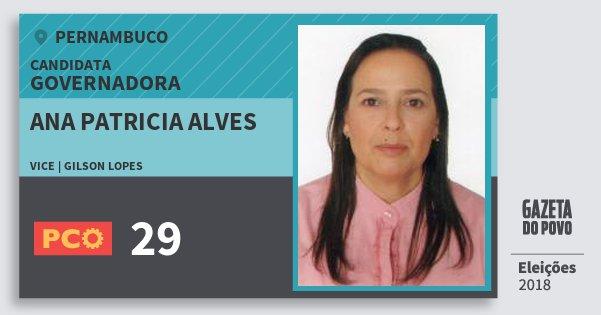 Santinho Ana Patricia Alves 29 (PCO) Governadora | Pernambuco | Eleições 2018