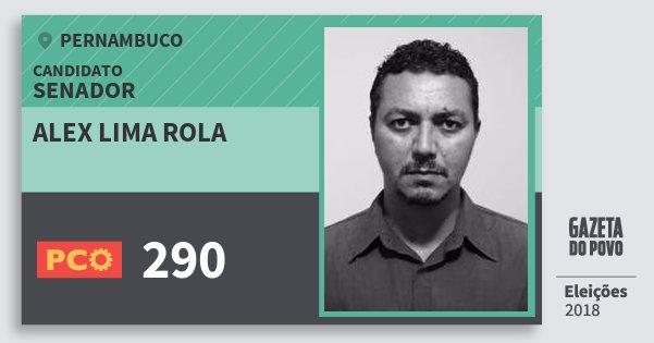 Santinho Alex Lima Rola 290 (PCO) Senador | Pernambuco | Eleições 2018