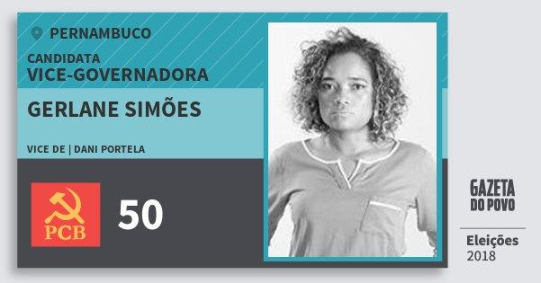 Santinho Gerlane Simões 50 (PCB) Vice-Governadora | Pernambuco | Eleições 2018