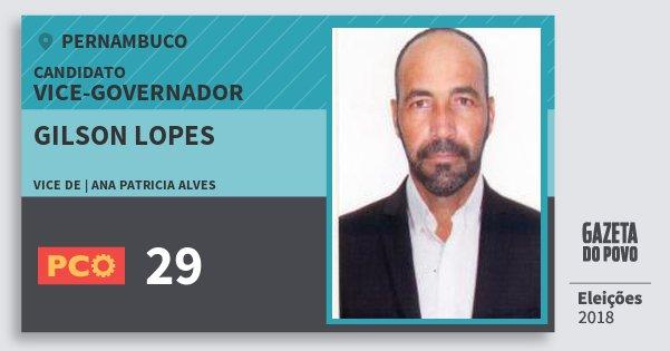 Santinho Gilson Lopes 29 (PCO) Vice-governador | Pernambuco | Eleições 2018