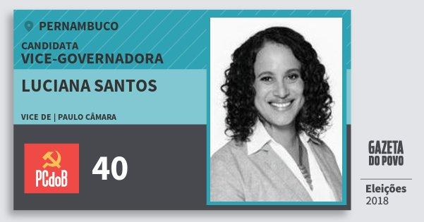Santinho Luciana Santos 40 (PC do B) Vice-Governadora | Pernambuco | Eleições 2018