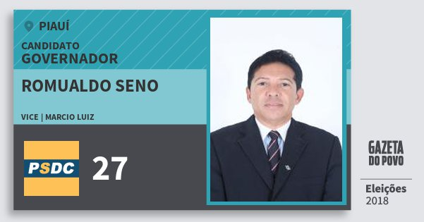 Santinho Romualdo Seno 27 (DC) Governador | Piauí | Eleições 2018