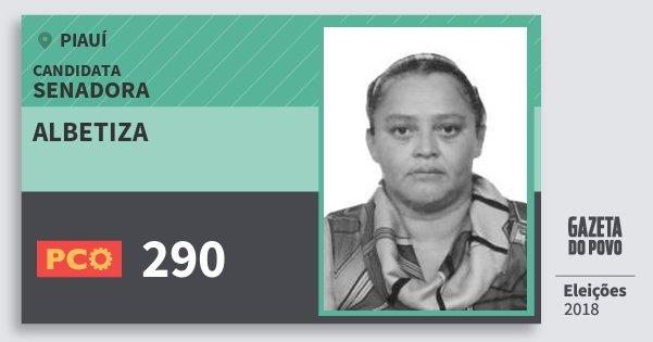 Santinho Albetiza 290 (PCO) Senadora | Piauí | Eleições 2018