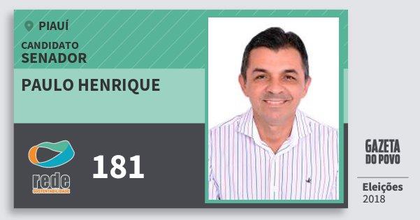 Santinho Paulo Henrique 181 (REDE) Senador | Piauí | Eleições 2018