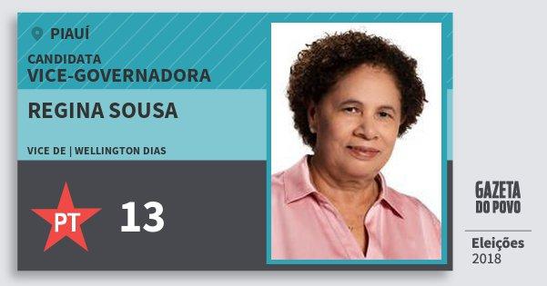 Santinho Regina Sousa 13 (PT) Vice-Governadora   Piauí   Eleições 2018