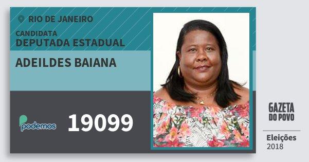 Santinho Adeildes Baiana 19099 (PODE) Deputada Estadual | Rio de Janeiro | Eleições 2018