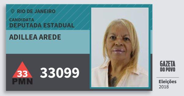 Santinho Adillea Arede 33099 (PMN) Deputada Estadual | Rio de Janeiro | Eleições 2018