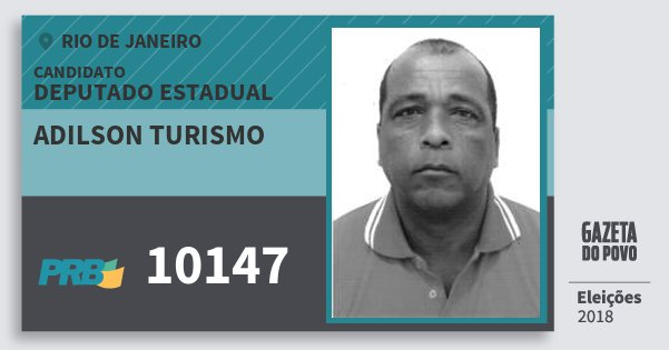 Santinho Adilson Turismo 10147 (PRB) Deputado Estadual | Rio de Janeiro | Eleições 2018