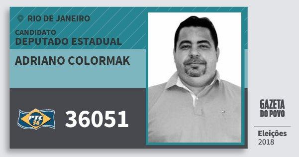 Santinho Adriano Colormak 36051 (PTC) Deputado Estadual | Rio de Janeiro | Eleições 2018