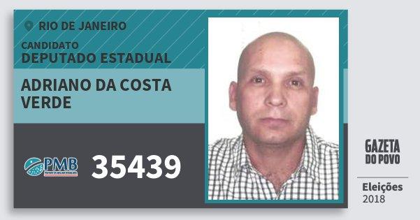 Santinho Adriano da Costa Verde 35439 (PMB) Deputado Estadual | Rio de Janeiro | Eleições 2018