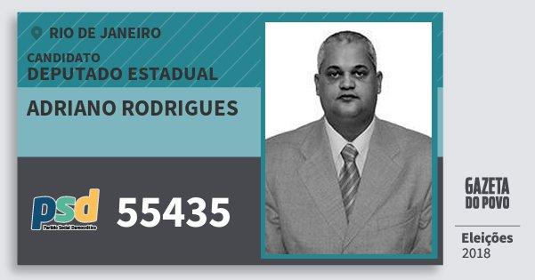 Santinho Adriano Rodrigues 55435 (PSD) Deputado Estadual | Rio de Janeiro | Eleições 2018