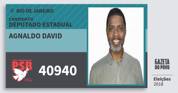 Santinho Agnaldo David 40940 (PSB) Deputado Estadual   Rio de Janeiro   Eleições 2018
