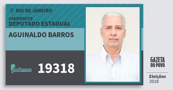 Santinho Aguinaldo Barros 19318 (PODE) Deputado Estadual | Rio de Janeiro | Eleições 2018