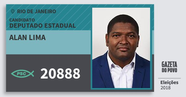 Santinho Alan Lima 20888 (PSC) Deputado Estadual | Rio de Janeiro | Eleições 2018