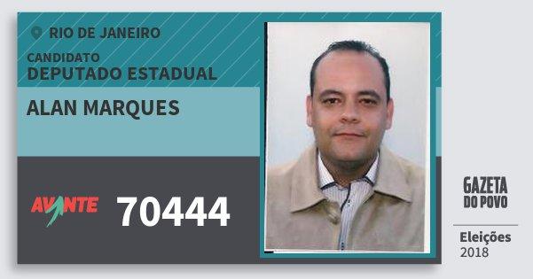 Santinho Alan Marques 70444 (AVANTE) Deputado Estadual | Rio de Janeiro | Eleições 2018
