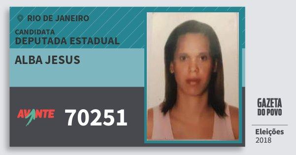 Santinho Alba Jesus 70251 (AVANTE) Deputada Estadual | Rio de Janeiro | Eleições 2018