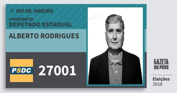 Santinho Alberto Rodrigues 27001 (DC) Deputado Estadual | Rio de Janeiro | Eleições 2018