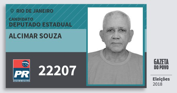 Santinho Alcimar Souza 22207 (PR) Deputado Estadual | Rio de Janeiro | Eleições 2018