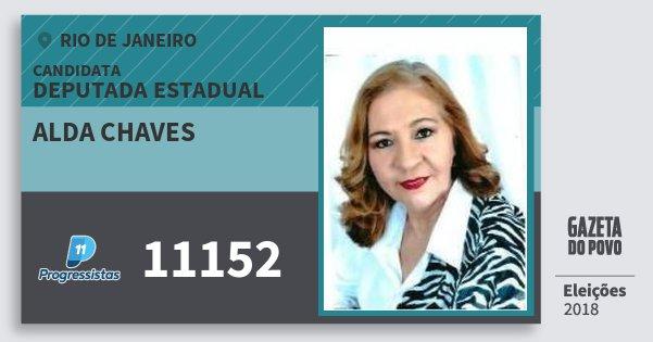 Santinho Alda Chaves 11152 (PP) Deputada Estadual | Rio de Janeiro | Eleições 2018